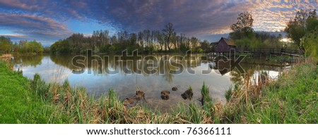 Spring landscepe with watermill - panorama