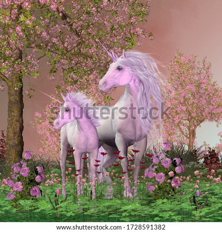 Spring Mare and Foal Unicorns 3D illustration - A white unicorn mare and her foal look towards a sound they heard in a forest full of cherry blossoms. Сток-фото ©