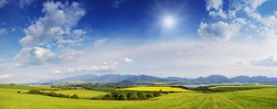 Spring meadow in mountains. Bright alpine landscape with blue sky. White clouds and bright sun in blue sky. Green fields under blue sky on a sunny day. Beautiful spring background.