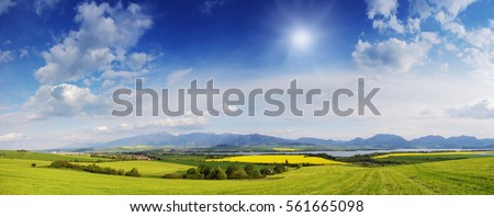 Spring meadow in mountains. Bright alpine landscape with blue sky. White clouds and bright sun in blue sky. Green fields under blue sky on a sunny day. Beautiful spring background. #561665098