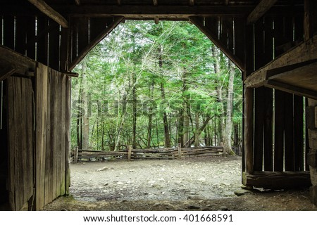 Spring Morning On The Farm.  Interior of a century old barn looking out to a lush green forest. #401668591