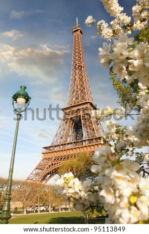 Paris France Eiffel Tower Pictures on Spring Morning With Eiffel Tower  Paris  France Stock Photo 95113849