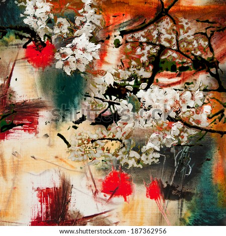 Spring motif, abstract background oil painting and mixed media