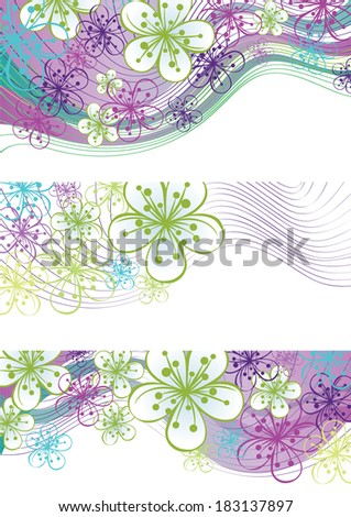 Spring or summer border. Cherry Flowers or Apple Flowers  abstract background of lines and gradient.Cool colors. Use as border,frame,template,screensaver,cover,artwork,background.Illustration