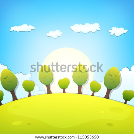 Spring Or Summer Cartoon Landscape/ Illustration of a cartoon country landscape with clouds in the sky for spring, summer or even autumn season