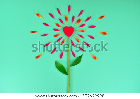 Spring or summer floral background with copy space for text. Flat lay. Floral background with hearts. Beautiful flower from petals. Flower petals on a  turquoise background. Flower petals and heart. #1372629998