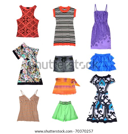 Spring or Summer women clothes set isolated on white - stock photo