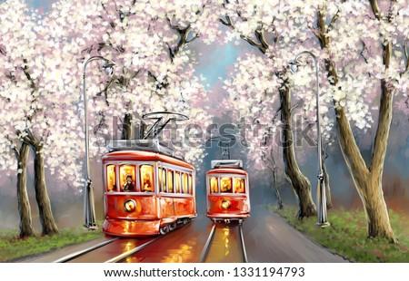 Spring  paintings landscape. Oil digital paint. Tram, fine art.