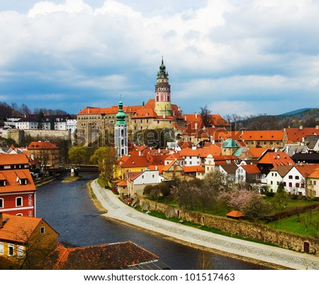 Spring panorama aerial view of Cesky Krumlov. Czech republic