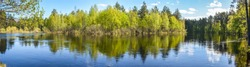 Spring panoramic water landscape of Central Russia. Panorama of the river in may in the national Park