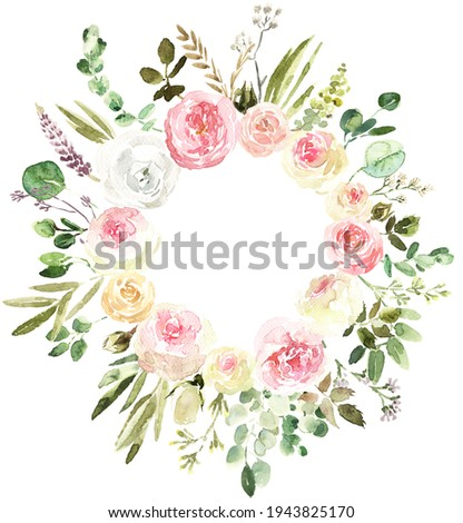Spring pastel floral wreath, handpainted watercolor design on white background, Roses, bourgeons, eucalyptus, olive leaves, greenery, meadow herbs for wedding, bridal shower, easter invites Photo stock ©