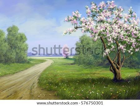 Stock Photo Spring, road, landscape paintings.Digital art.