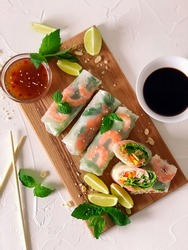 Spring roll with seafood and vegetables in rice paper