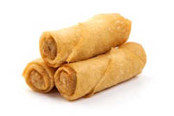 Spring rolls, Chinese cuisine, isolated on white background.