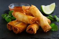 Spring rolls with shrimp with sweet chili sauce. Asian cuisine.