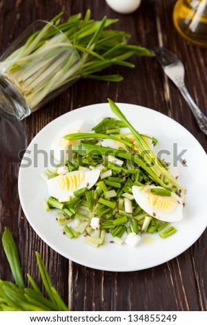 spring salad with fresh wild garlic and egg, closeup