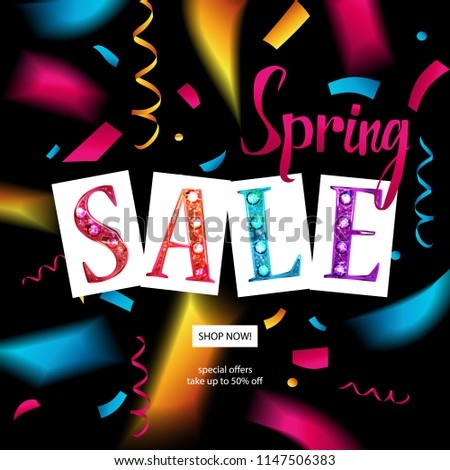 Spring sale banner template design. For your online store. Raster copy #1147506383