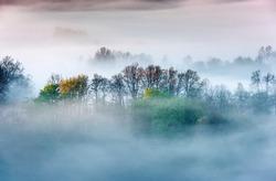 spring scenery,morning foggy landscape in northeastern Bosnia