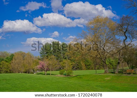Spring scenery of blue sky with white cloud at James C. Dittmar Park in Devon, PA Stock fotó ©