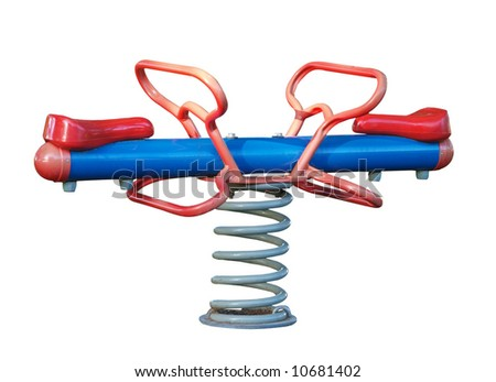 Spring See Saw isolated with clipping path