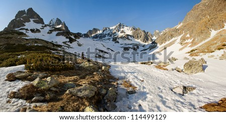 Spring snowy panorama of the High Tatra Mountains with resting hiker.