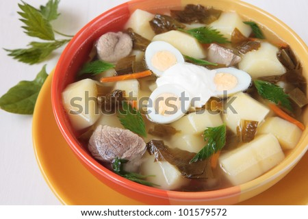 Spring soup with sorrel, nettles and potatoes and egg