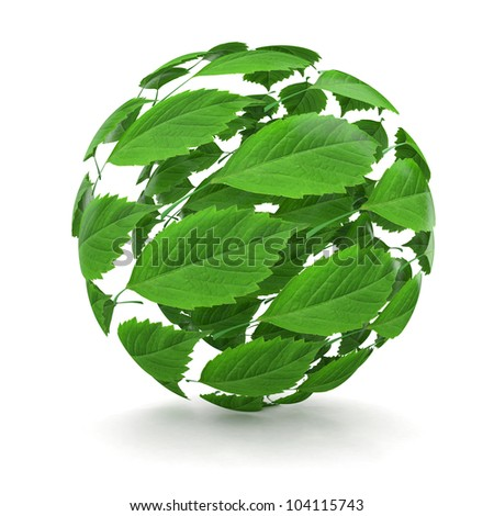 Spring. Sphere from green leaf on white background. 3d