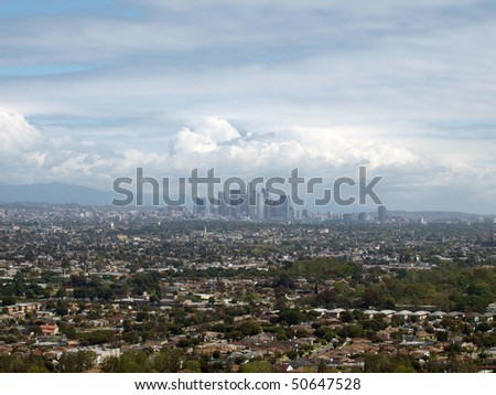 Spring storm clearing out over Los Angeles, California.