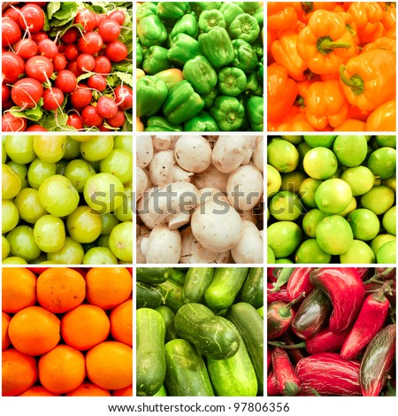Spring Summer Fruit and Vegetable collage. Health Backdrop. Active Lifestyle.