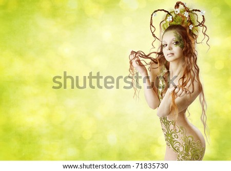 Spring summer woman with tattoo and hairstyle over green background.