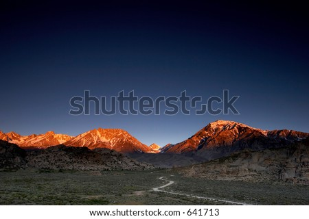 Spring sunrise in the mountains.