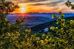 Spring sunset along the Blue Ridge Parkway, Virginia, USA