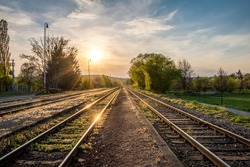 Spring sunset on railway tracks - Czech Republic, Europe