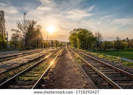 Spring sunset on railway tracks - Czech Republic, Europe