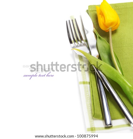 spring table settings with fresh tulip with easy removable text