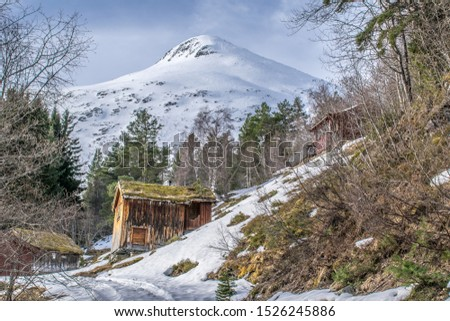 Spring time at the cabins on the mountain . Photo from Sundssetra in Stryn , in Norway .  #1526245886