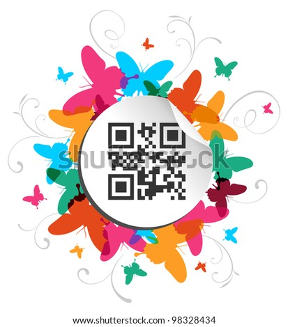 Spring time concept background with qr code label.