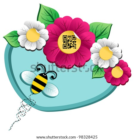 Spring time concept: bee on the spring flower with qr code label isolated over white background.