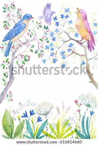 Spring time frame. Vintage watercolor birds on the blossom tree branches and spring flowers. Hand painted botanical illustration. Photo or text floral frame.