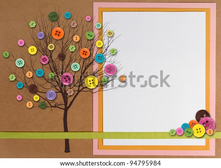 Photo of Spring time tree with button leaves, paper composite with copy space on right side