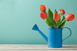 Spring tulip flower bouquet with copy space