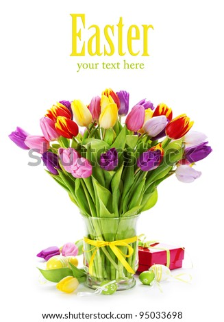 spring tulips with easter eggs  on white background (with sample text)