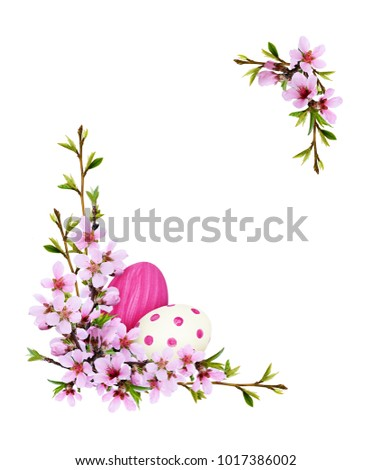Spring twigs of peach flowers and early leaves with painted eggs in corner Easter arrangements isolated on white background. Flat lay. Top view. #1017386002
