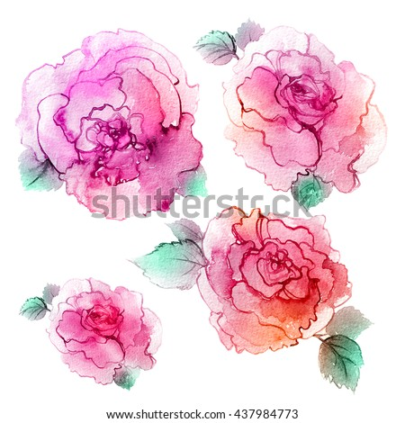 Spring watercolor flowers. Mother's Day, wedding, birthday, Easter, Valentine's Day.  Colorful watercolor illustration. #437984773