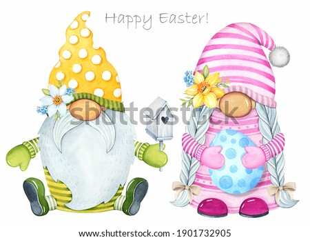 Spring watercolor illustration. Cute Easter gnomes. Boy and girl gnomes. Easter egg. Stock fotó ©