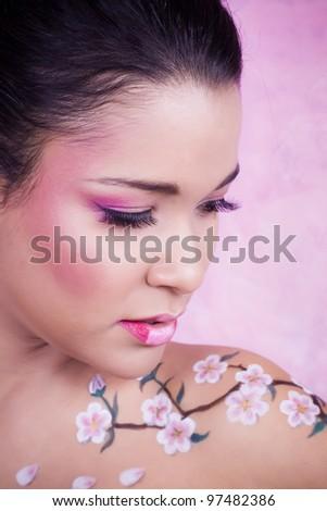 Spring woman. Beautiful creative makeup