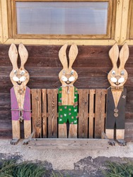 Spring, wooden decor in the children's playhouse