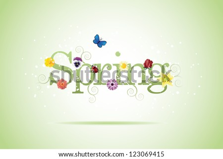 Spring word, flowers and butterfly