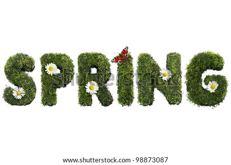 Spring word formed from moss with flowers and butterfly isolated on white