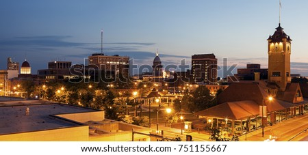 Springfield panorama with old and new State Capitol Buildings and Union Station Building. Springfield, Illinois, USA.